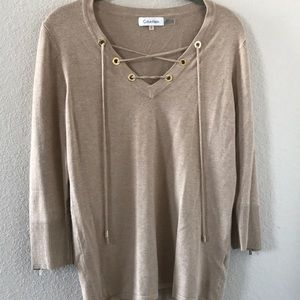 Tan lace up Calvin Klein sweater top